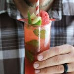 Fresh watermelon juice gives the classic Moscow mules recipe just a touch of sweetness & tons of summer flavor! Vegan.