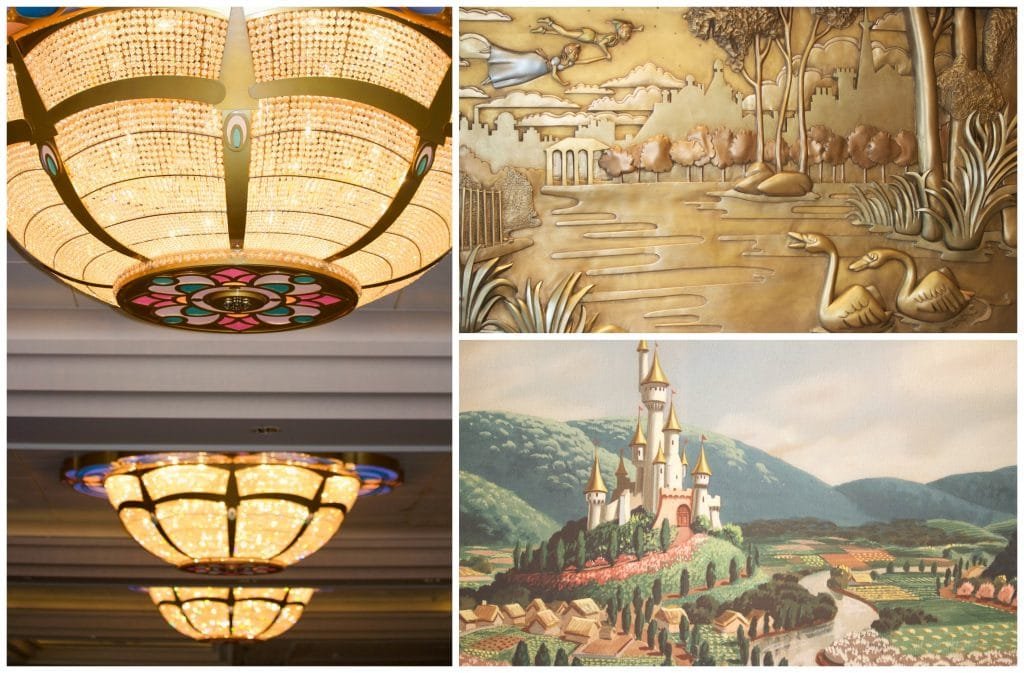 A photo collage showing the chandeliers, paintings, decor, and art work on the Disney Fantasy.