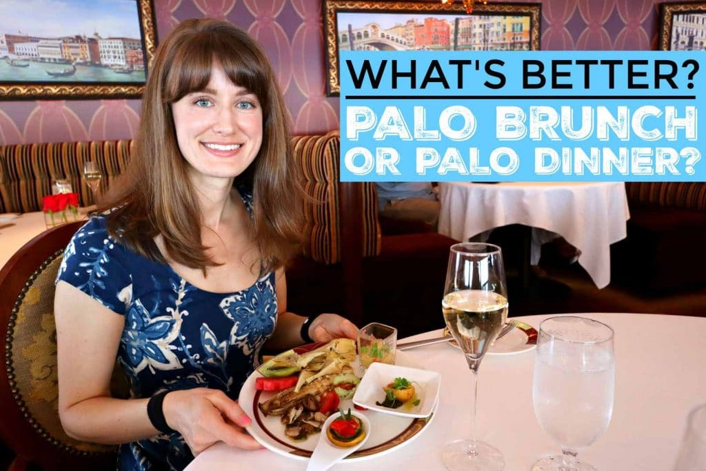 A woman sitting at a table holding a plate of food from Palo brunch next to a glass of champagne.