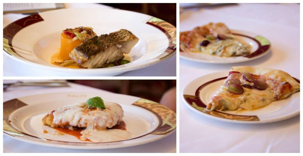 Multiple plates of food from the a a carte menu at Palo brunch on the Disney Fantasy.
