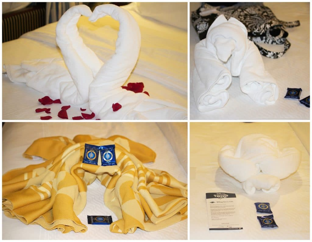 A photo collage showing different types of towel animals on a Disney Fantasy.