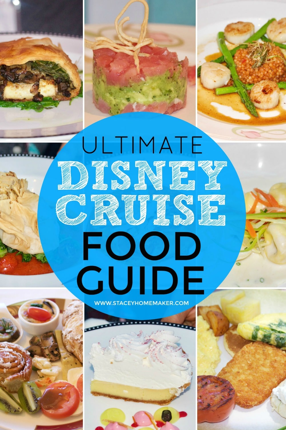 A photo collage showing multiple Disney cruise food options.