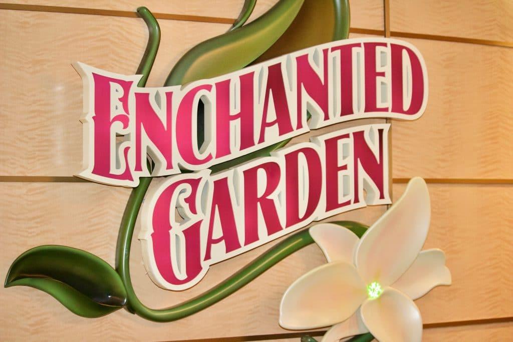 Enchanted Garden restaurant sign on the Disney Fantasy cruise.