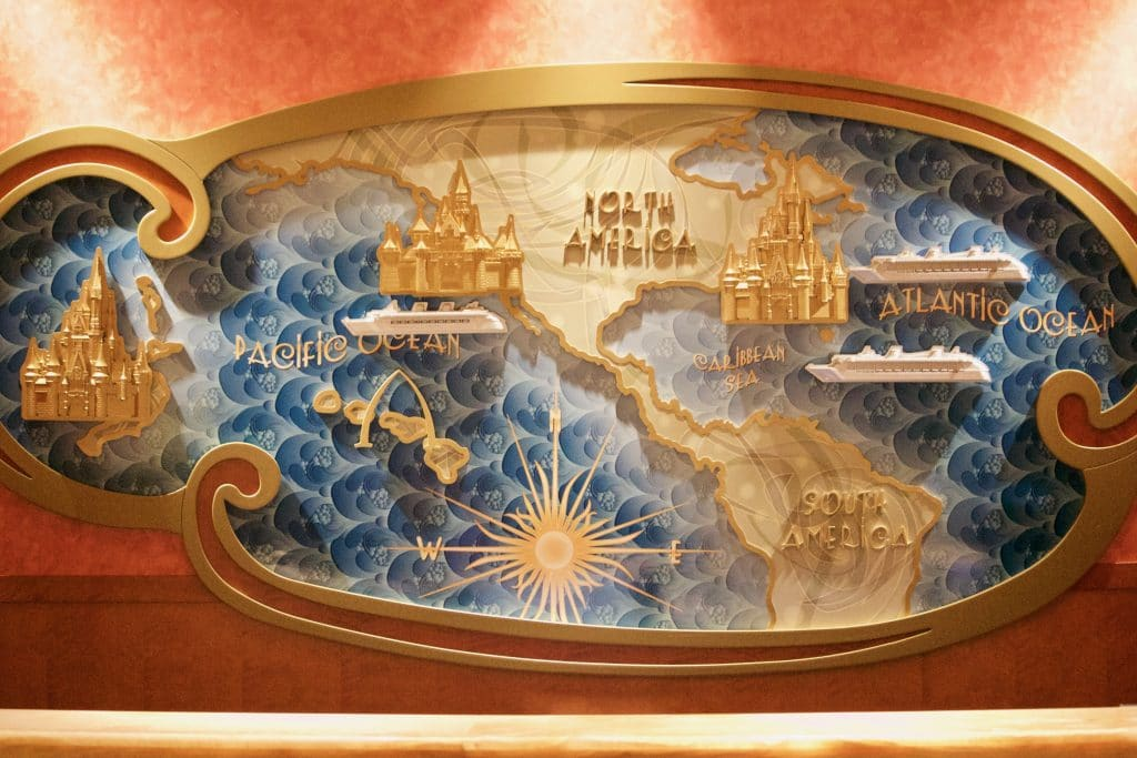 A map of the Disney castles on a Disney cruise.