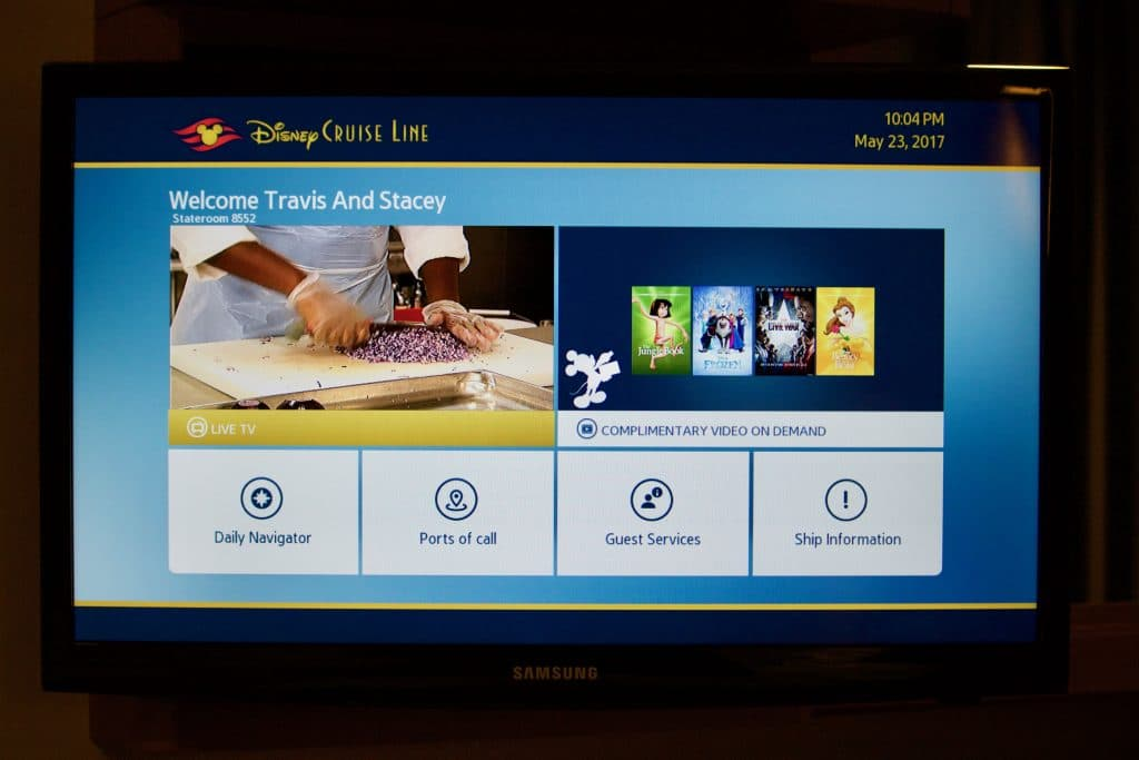 A TV screen in a stateroom on the Disney Fantasy.