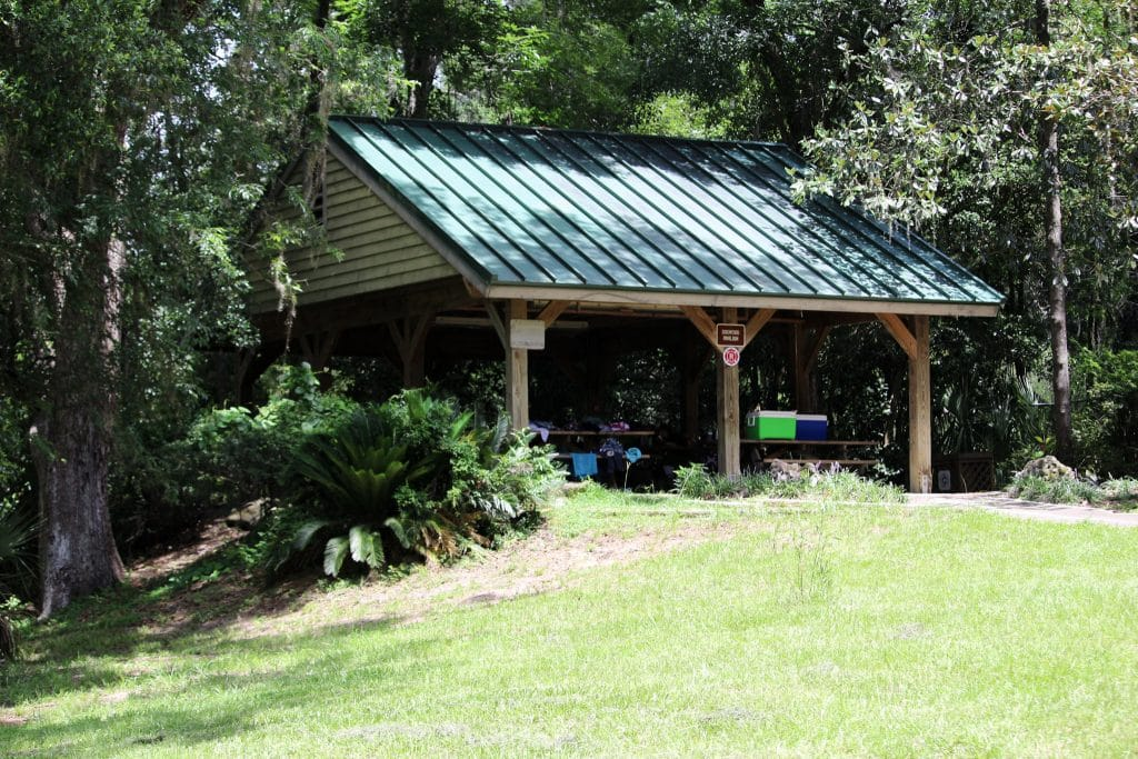 One of the three large covered pavilions on the hill at Rainbow Springs State Park.
