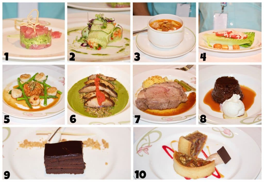A photo collage showing food options at Enchanted Garden on Disney cruise.