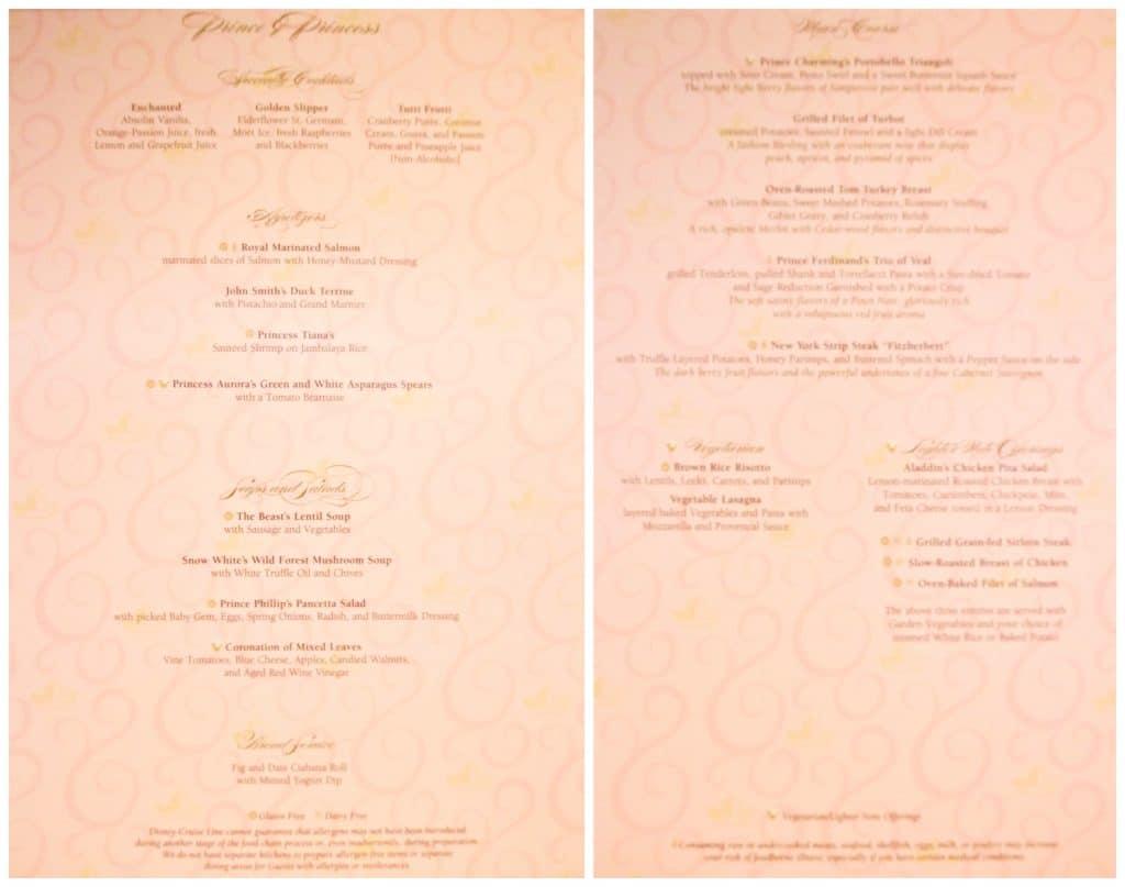 Enchanted Garden dinner menu.