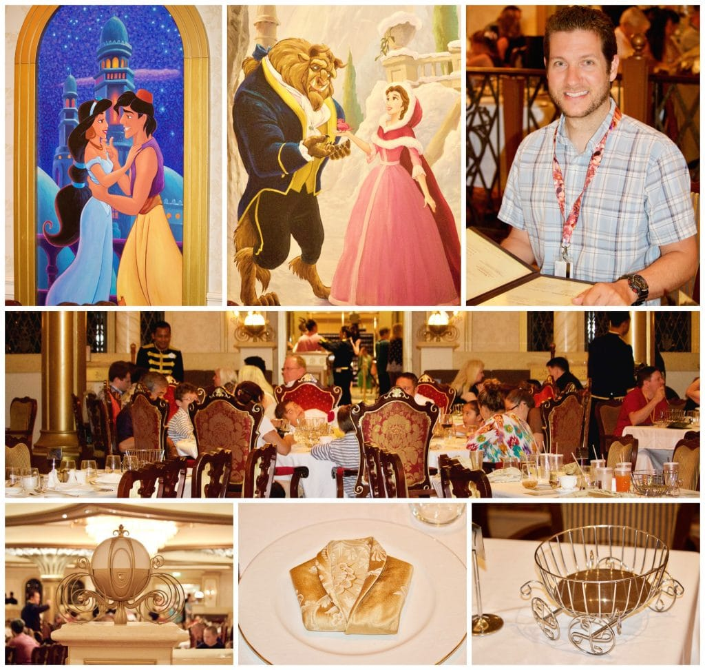 A photo collage showing what the Royal Court restaurant on Disney Fantasy looks like.