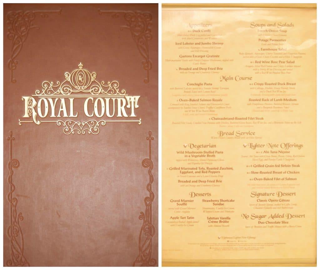 Royal Court dinner menu.