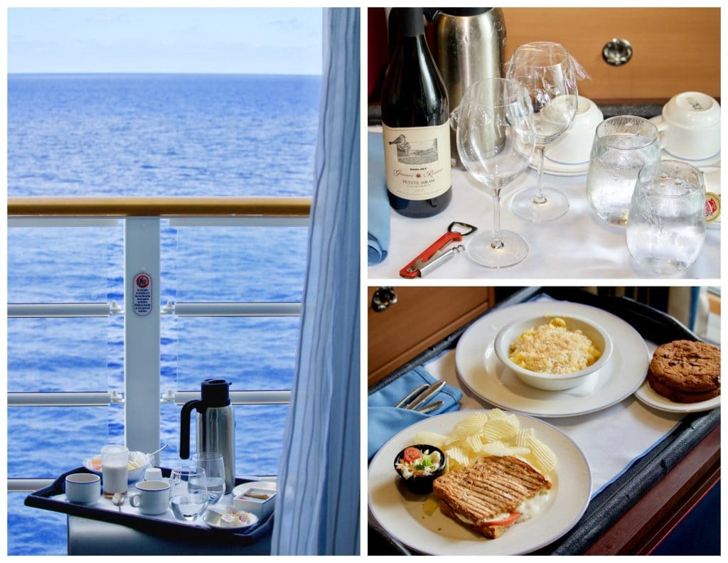 A photo collage showing room service options on Disney Fantasy cruise.