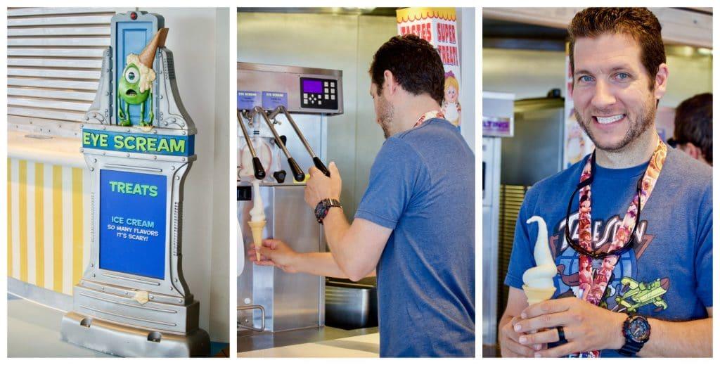 A man eating an ice cream cone from eye scream on Disney Fantasy.