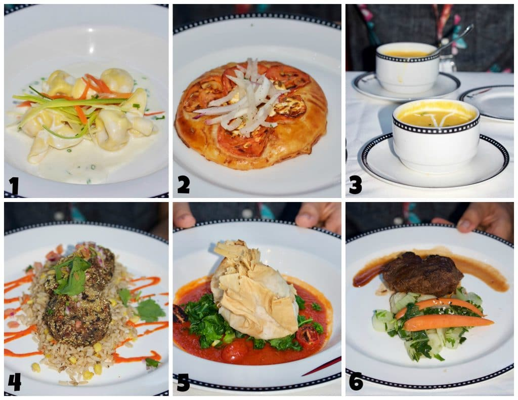 A photo collage showing food options at Animator's Palate on Disney Fantasy.