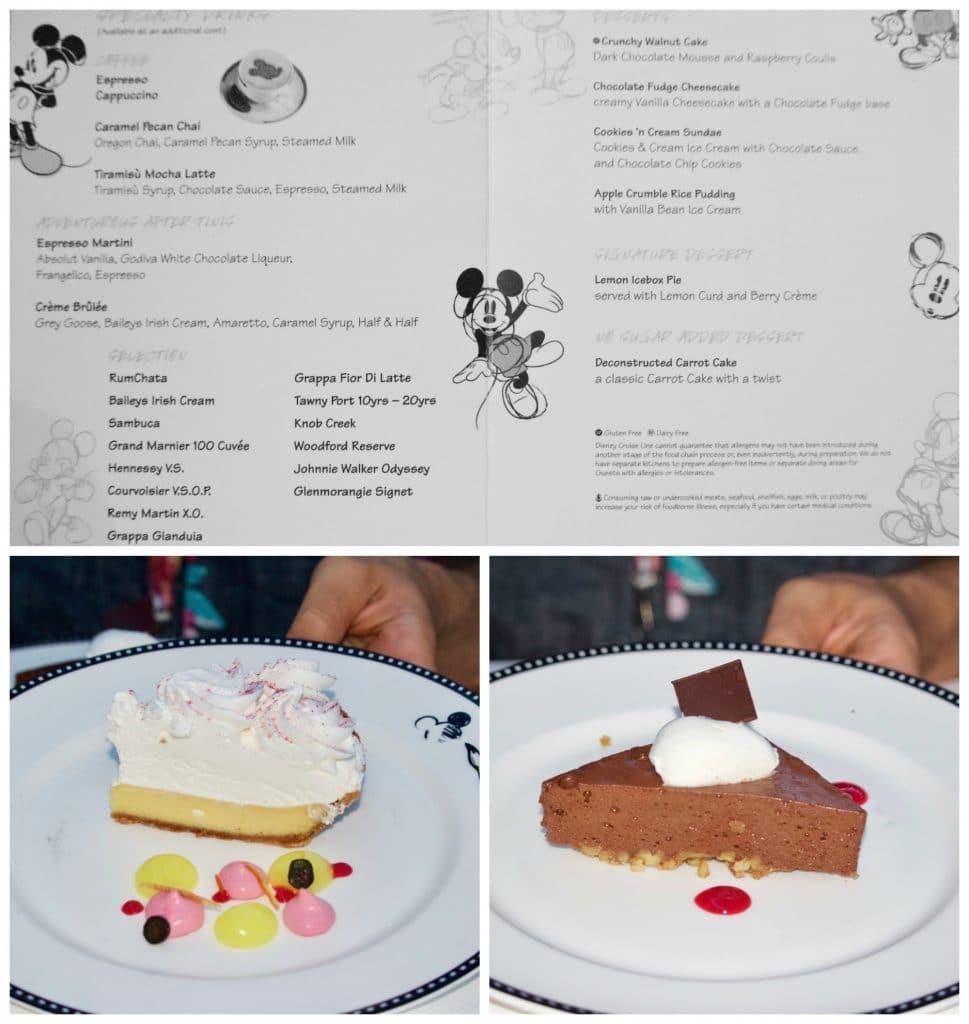 Animator's Palate dessert menu and dessert options.