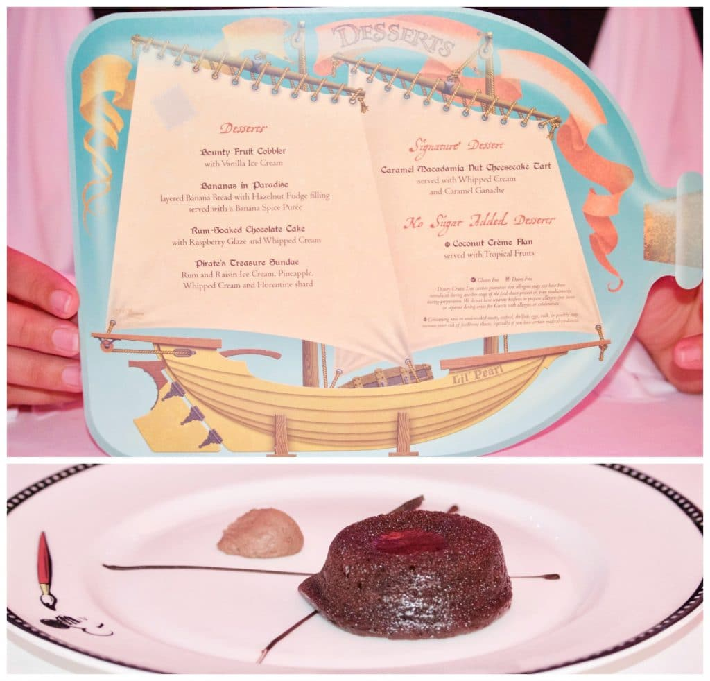 Pirate night dessert menu and rum cake on Disney cruise.