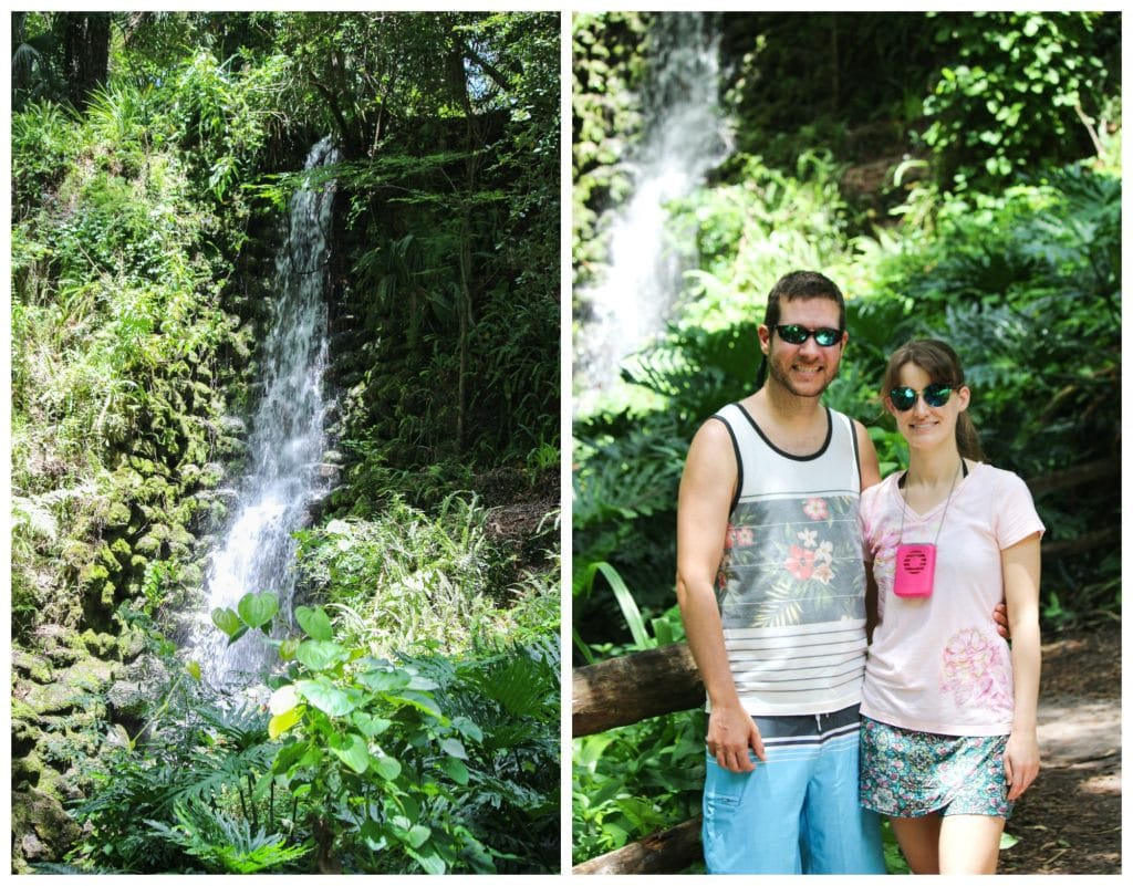 A collage of pictures showing the waterfalls and a happy couple walking on the nature trail at Rainbow Springs State Park.