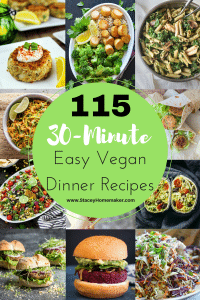 This list of 115 easy vegan dinners is AMAZING! I've tried so many of these dishes and each one is better than the last! I'm going to try them all!