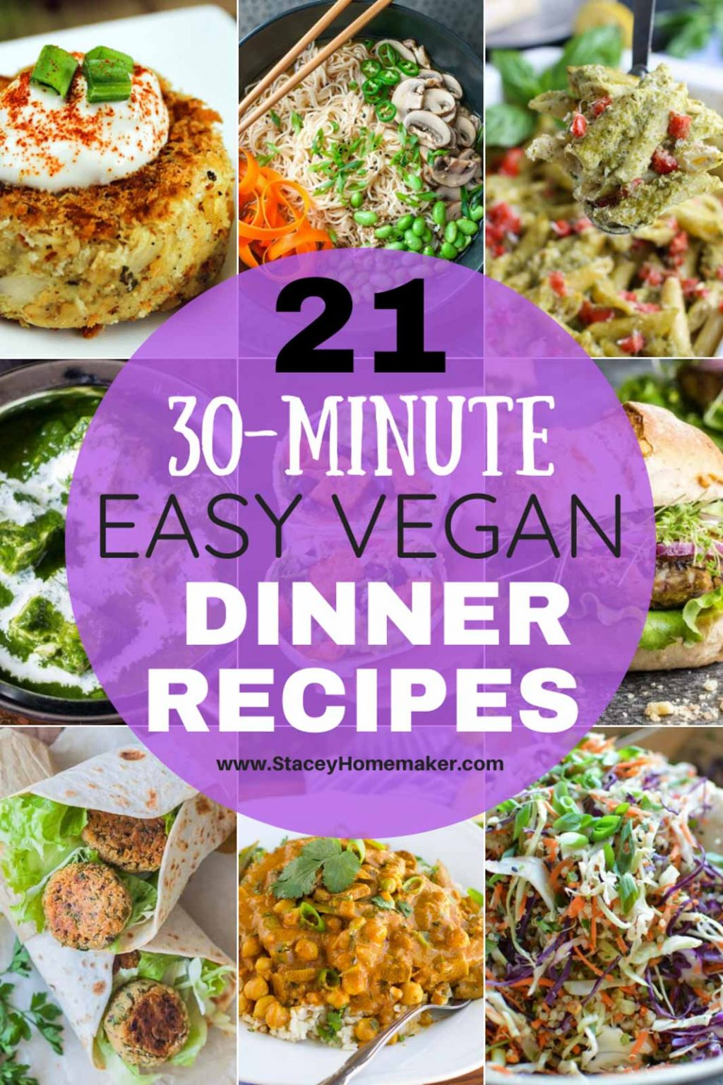 A photo collage showing multiple easy vegan dinner recipes.