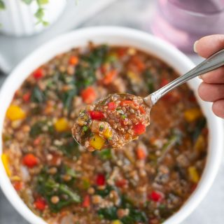 When I don't feel like cooking I make this easy stuffed pepper soup recipe! It's so flavorful, healthy, and satisfying! I love that it's served with quinoa instead of rice, it's loaded with protein! Vegan, dairy-free, gluten-free.