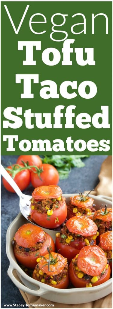 We LOVE this stuffed tomatoes recipe, cook once and eat twice! The leftover filling makes delicious tacos for the next night! My omnivore mom didn't even know that she was eating tofu! Vegan.