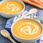 "My husband nicknamed this vegan ginger carrot sweet potato soup ""liquid gold!"" It's so flavorful and rich but only requires 7 ingredients!"