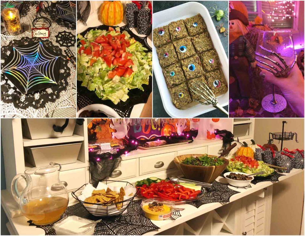 A photo collage showing the food and decorations at a vegan Halloween party.