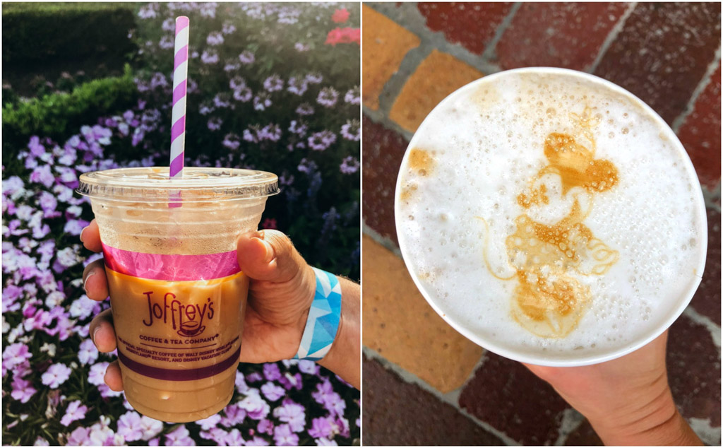 A collage of hot and iced almond milk lattes from Joffrey's Coffee in Disney World.
