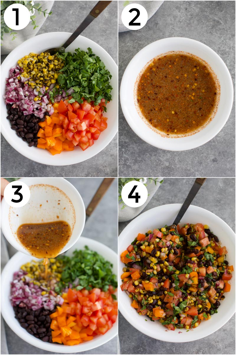 A collage of photos showing how to make the recipe in 4 easy step.s