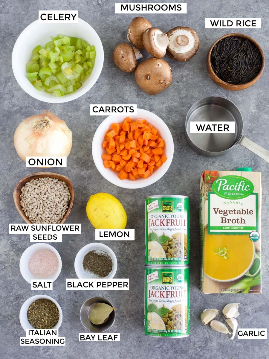 Vegan Slow Cooker Jackfruit Wild Rice Soup