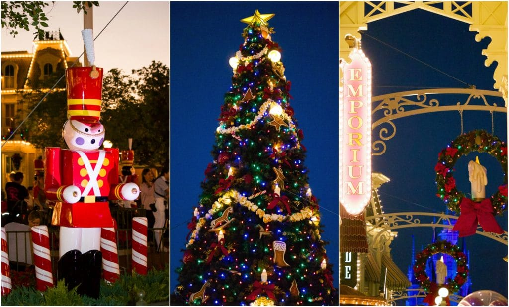 A collage of photos showing a nutcracker, Christmas tree, and bubble snow on Main Street at the Magic Kingdom.