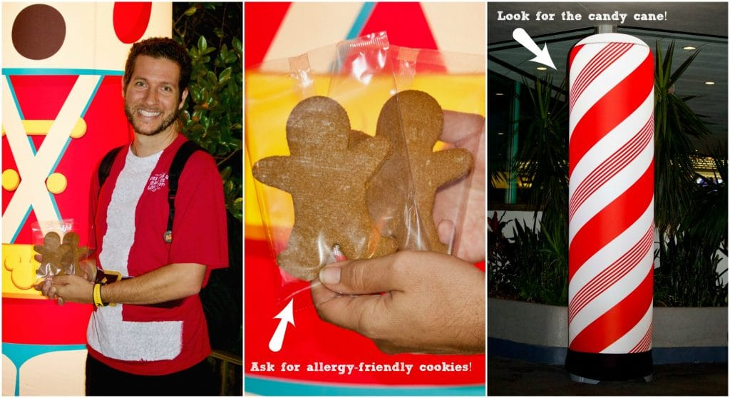 A photo collage showing a man holding gingerbread cookies and a striped candy cane light.