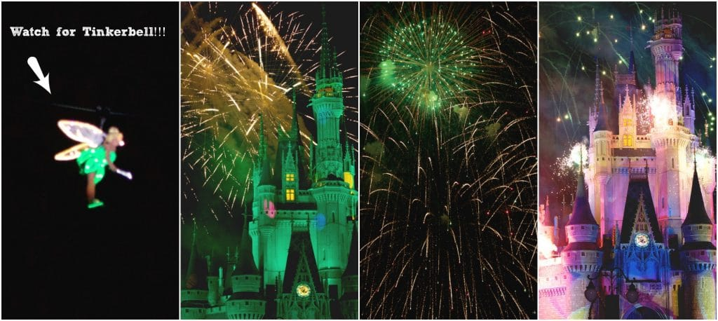 A photo collage showing tinker bell and the fireworks at Mickey's Very Merry Christmas Party!