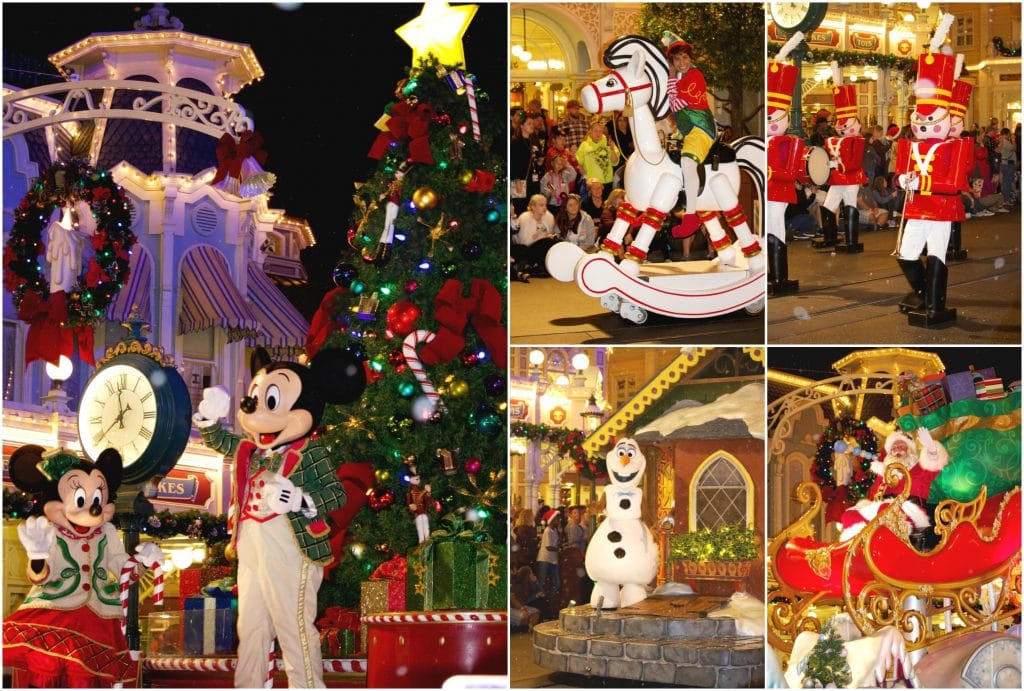 A collage of photos showing different parade floats from the Mickey's Once Upon a Christmastime parade!