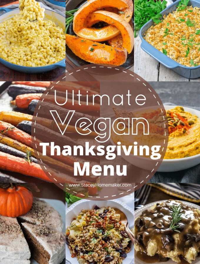 Cooking a vegan Thanksgiving feast doesn't have to be stressful when you have this handy-dandy complete vegan Thanksgiving menu! All the recipes you'll need from appetizers to dessert!