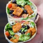 Healthy vegan sweet potato black bean burrito.