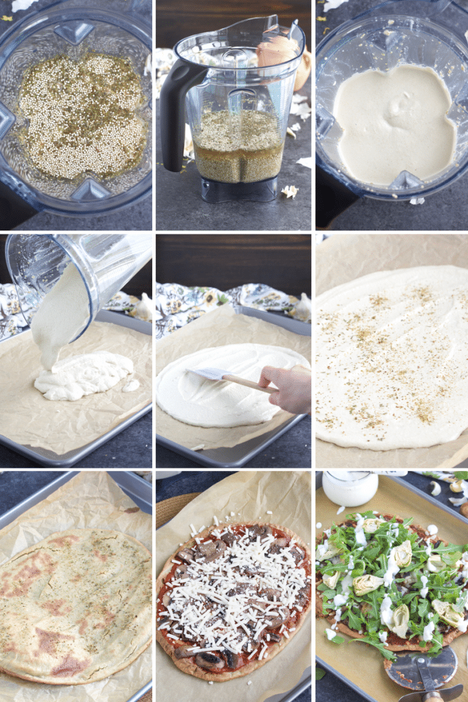 A photo collage showing how to make gluten-free flatbread pizza step by step.