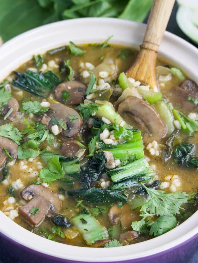 Vegan Bok Choy Mushroom Barley Soup