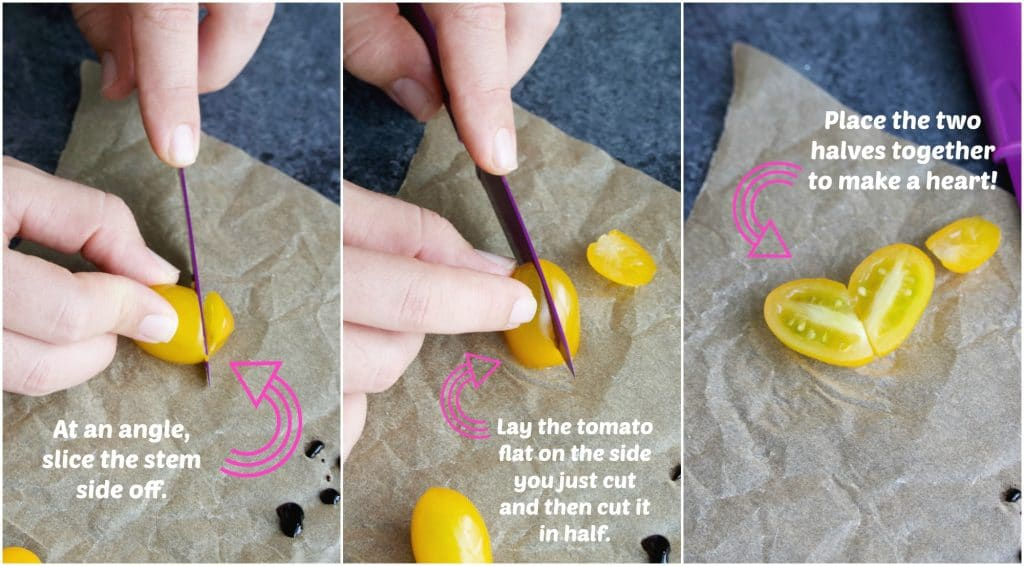A collage of photos showing how to make the tomato hearts step by step.