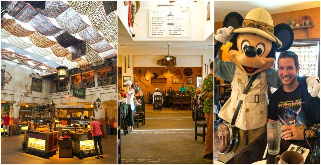 A collage of images showing what the Tusker House Disney World restaurant in Animal Kingdom looks like inside.