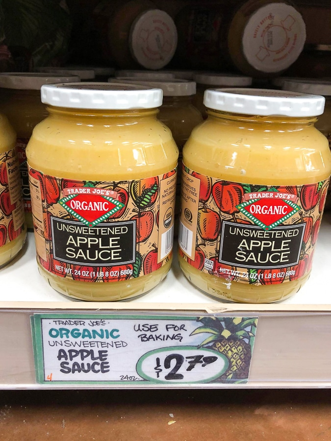 Two glass jars of organic unsweetened apple sauce for $2.79 at Trader Joe's.