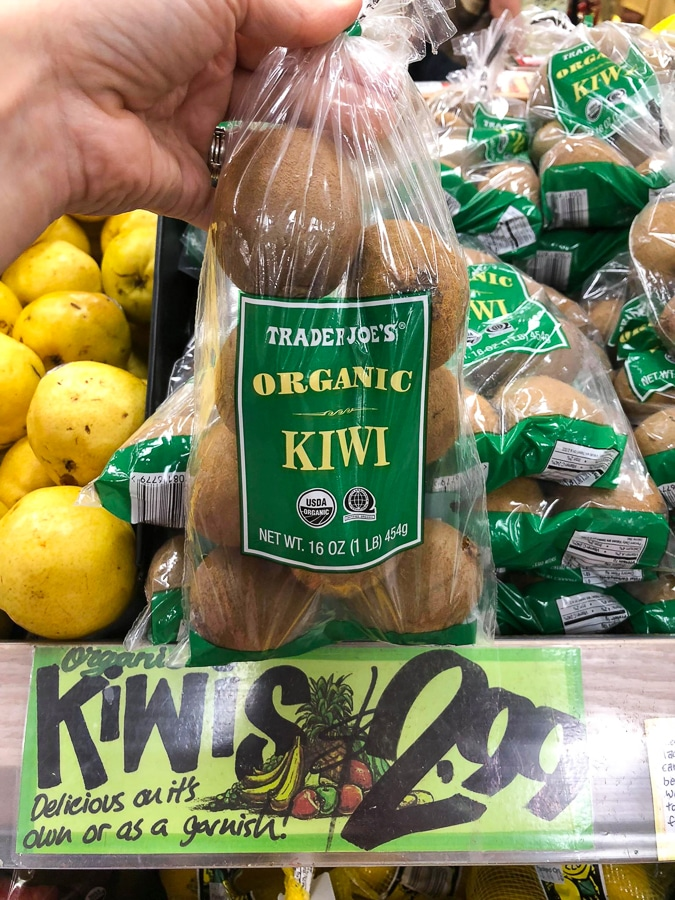 Plastic bag of organic kiwi's for $2.99 at Trader Joe's.