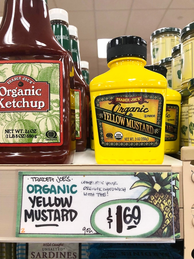Bottle of organic mustard for $1.69 at Trader Joe's.