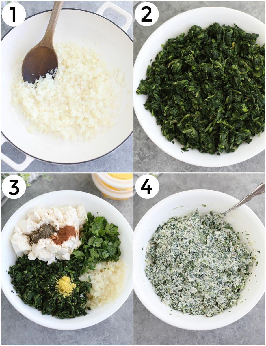 A photo collage showing the first 4 steps to make this recipe.
