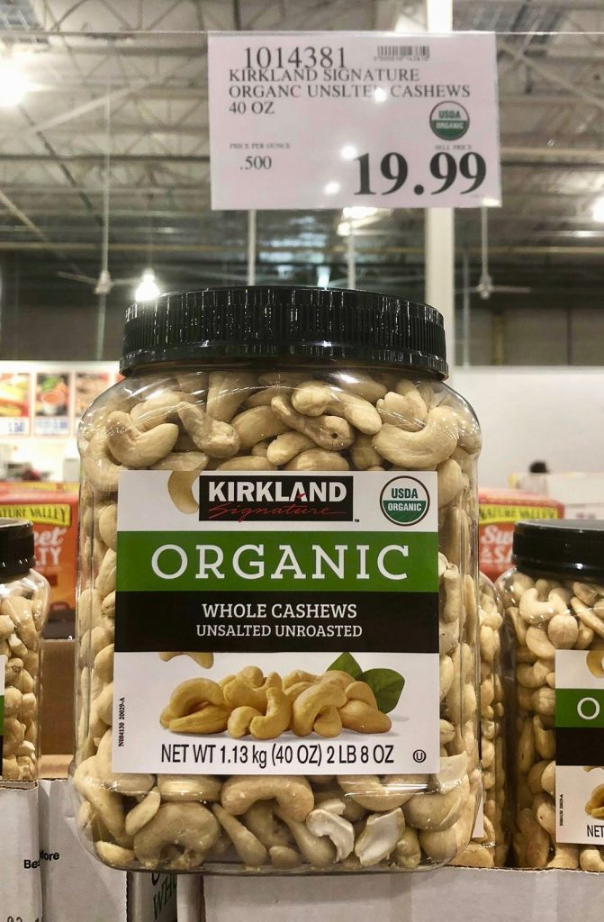 A large jar of organic vegan cashews for $19.99 at Costco.