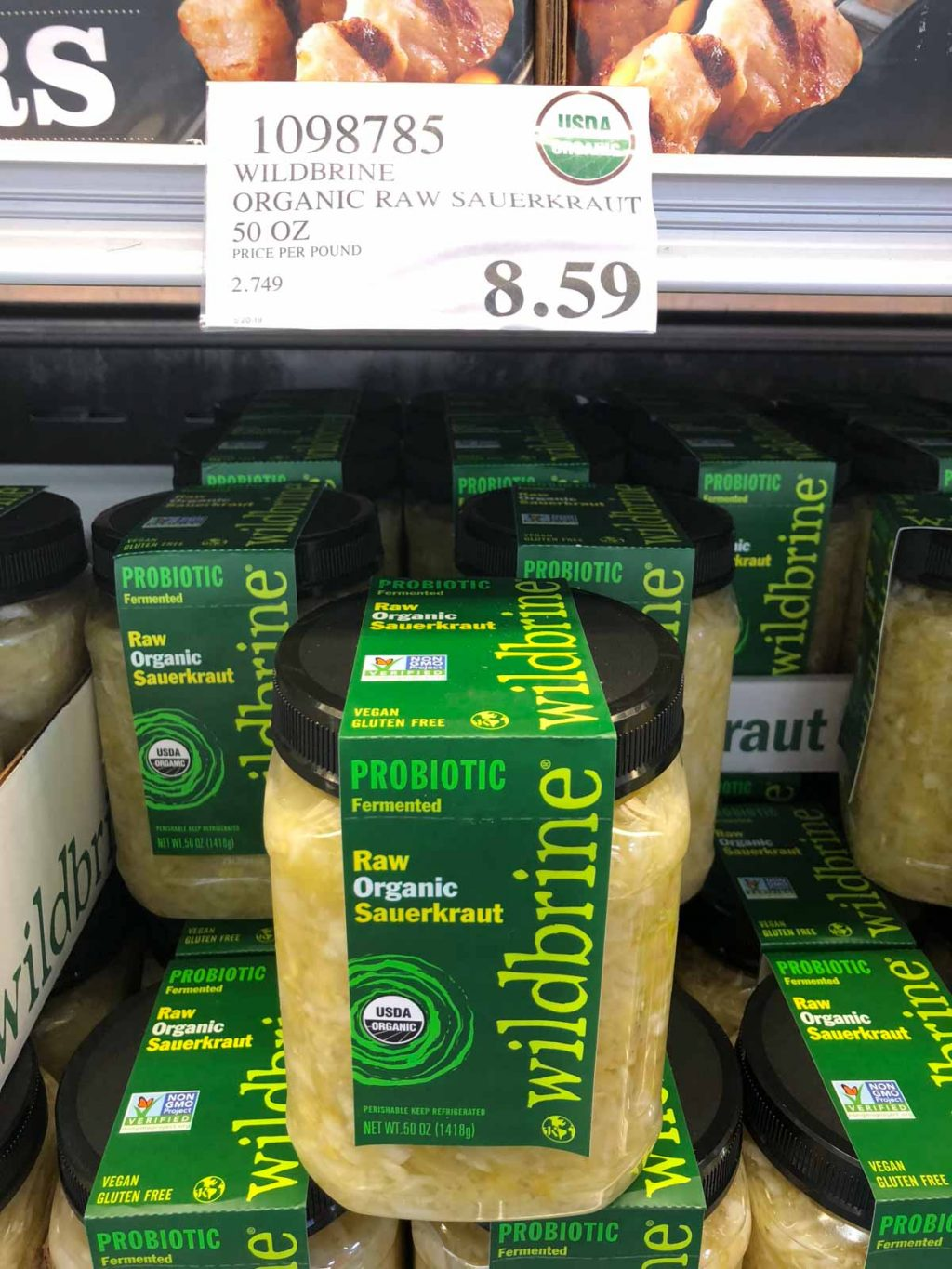 A large container of organic vegan raw wildbrwne sauerkraut for $8.59 at Costco.
