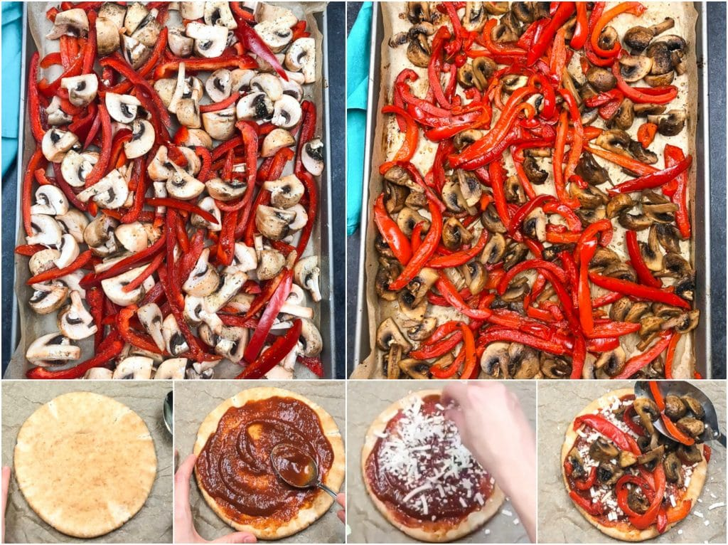 A photo collage showing how to make vegan pita pizzas in a few easy steps.