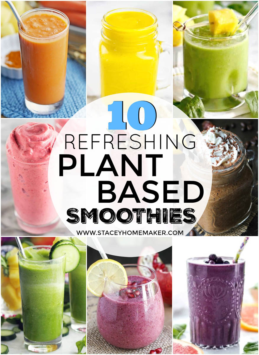 A photo collage showing 10 plant-based smoothies of all different colors and flavors.