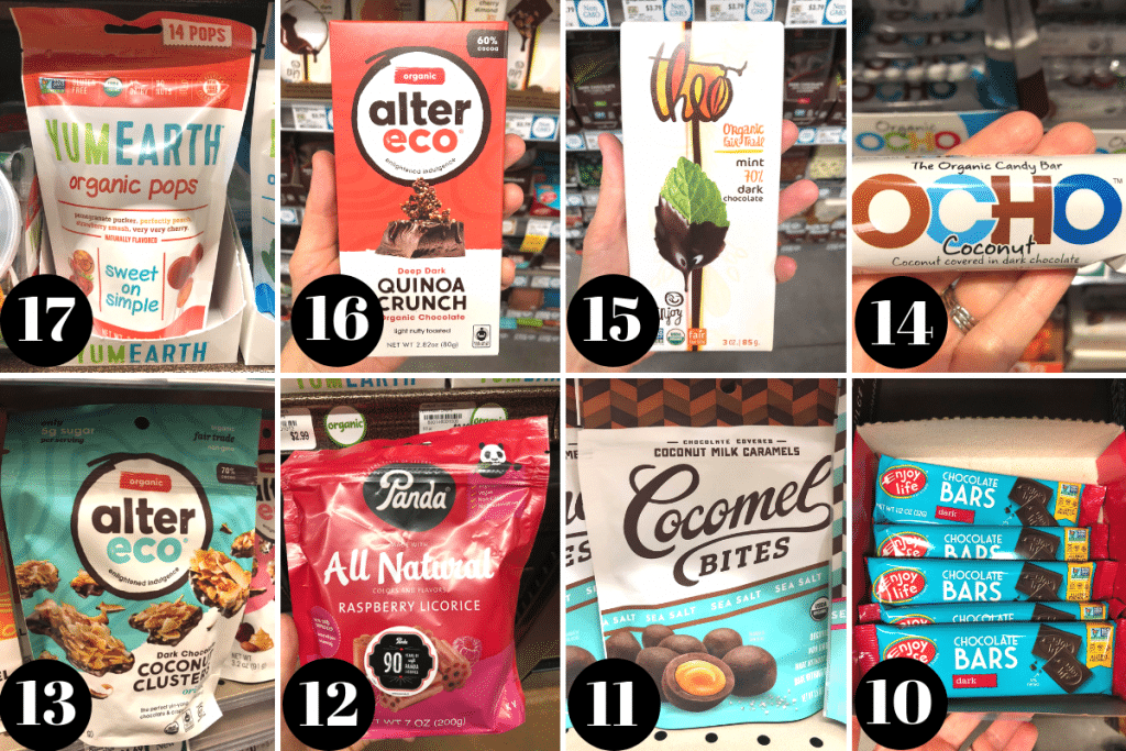 A collage of photos showing 8 different vegan candies.