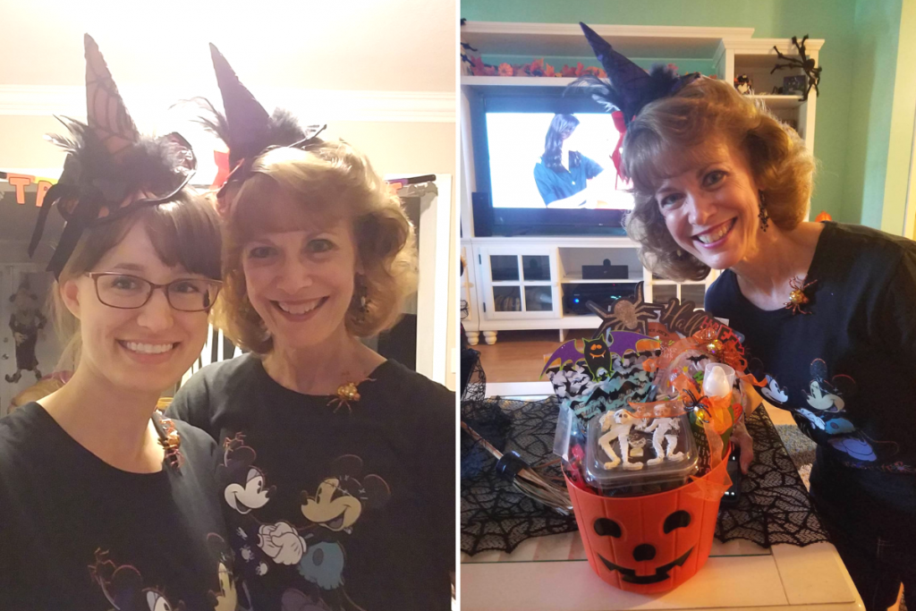 Two photos, three women all wearing witch hats and smiling.