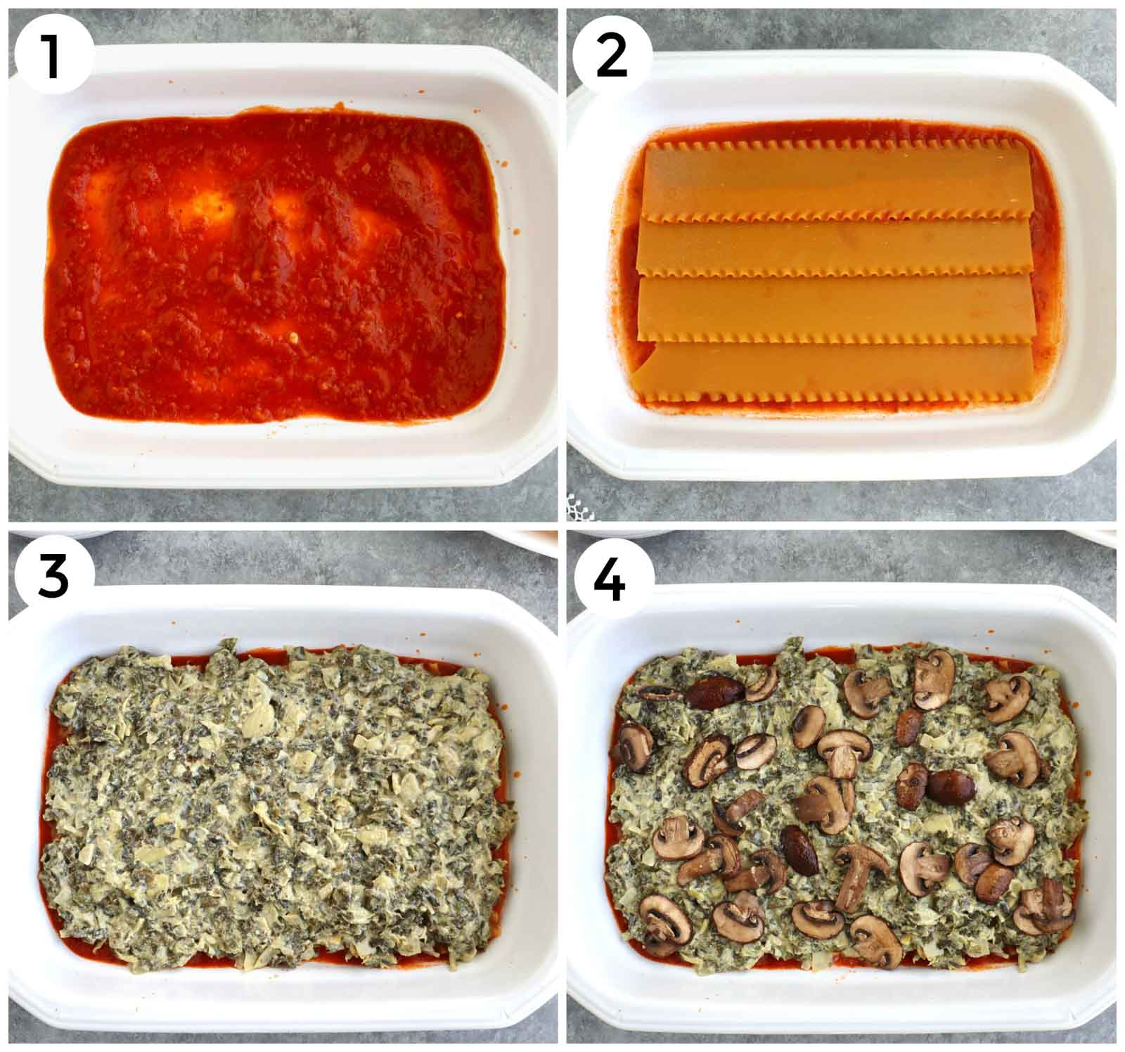 A photo collage showing how to make vegan lasagna step by step.